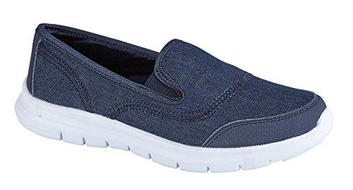 Air Tech femmes formateurs Slip sur pompes Mocassins Chaussures Casual taille Denim