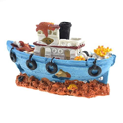Niocase Aquarium Schiffswrack Boot Dekoration, Premium-Qualität ungiftig langlebig sicher Harz Wrack Schiff Fischerboot Dekor Aquarium Ornamente versunkene Schiff Ornament (Aquarium Große Log-dekorationen)