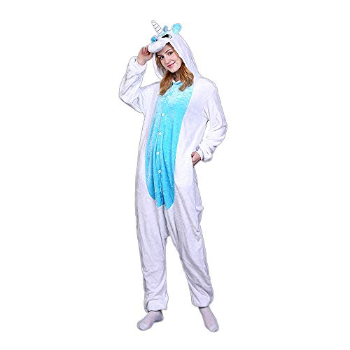 Rainbow Unicorn Schlafanzug Unisex Erwachsene Einhorn Pyjama Tier Flanell Cosplay Jumpsuits Kostüme Party Overalls Halloween Karneval Neuheit Schlafanzüge (Purple, S) (Für Erwachsene Rainbow Kostüm)