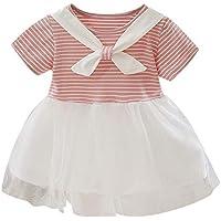 ZHMEI Vestidos | Niños pequeños Bebés Niñas Patchwork Tul Ropa Casual de Rayas Vestidos de Princesa 12 Meses - 36 años
