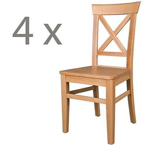 Schwarzwald Massivholz Esszimmerstuhl ST24 Anastasia Holzstuhl belastbar bis 150 kg Gastro Qualität in 3 Farben (4 Stühle, Buche Naturlackiert) -