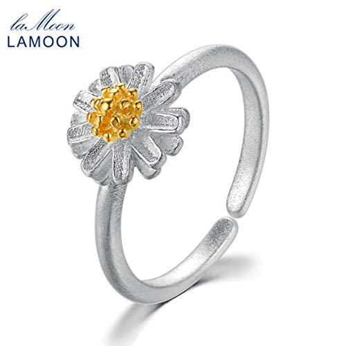 Delicacydex Lamoon Cute Wire Drawing 8 * 8mm Blume geformt 925 Sterling Silber verstellbare Öffnung Ring S925 Schmuck Geschenk für Mädchen - Silber