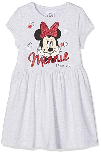 Disney Minnie Mouse Mädchen Minnie Mouse Heads and Hearts Kleid, Grau (Light Grey Marl), 2-3 Jahre