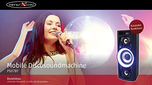 Reflexion PS07BT Mobile Discosoundmaschine (inkl. Bluetooth, Radio, 2x USB, AUX-IN, Karaokefunktion und Akku) schwarz - 4