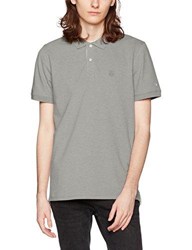 SELECTED HOMME Shharo Melange Ss Embroidery Polo Noos, T-Shirt Uomo Grigio (Wrought Iron)