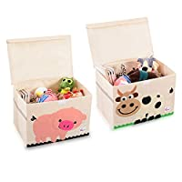 SITAKE 2Pcs Foldable Animal Storage Toy Box/Bin/Cube - Organizer Container Cube Storage Box for Kids & Toddlers - Collapsible Toy Storage Cubes Organizer for Kids