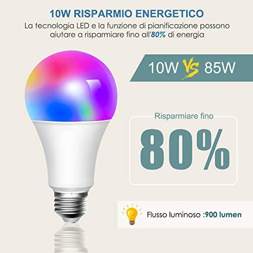 Google Home e IFTTT Lampadina Smart 10W 6500k+3W RGBW 2 Pezzi ATSUI E27 WiFi 10W 900LM Lampadina LED Multicolore Compatibile Con Cellulari non richiede HUB