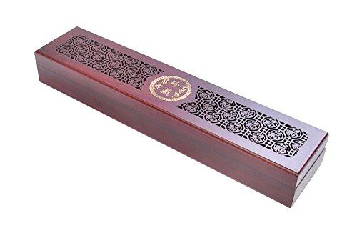 Quantum Abacus Deluxe Lot de baguettes chinoises dans un élégant coffret en bois, baguettes chinoises en bois de santal rouge avec décoration en métal, motif \