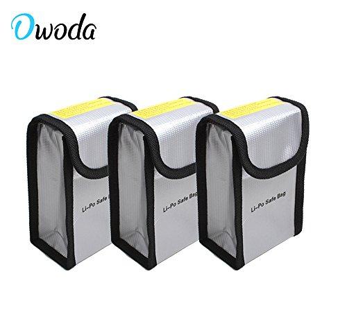Owoda 3 Stück Feuerbeständige Explosionsschutz Lipo Batterie-sicherer Beutel-Hülsen-Lipo Battery Guard Tasche Sack Gebühren-Schutz-Tasche für DJI Phantom 4 / 3 (3 Stück)