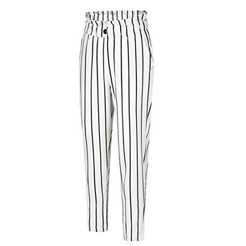UFACE Damen gestreiften Knopf Casual Hosen gerade Beinhosen Leg Lässige Hose mit Taschen (M/(38), Weiß)