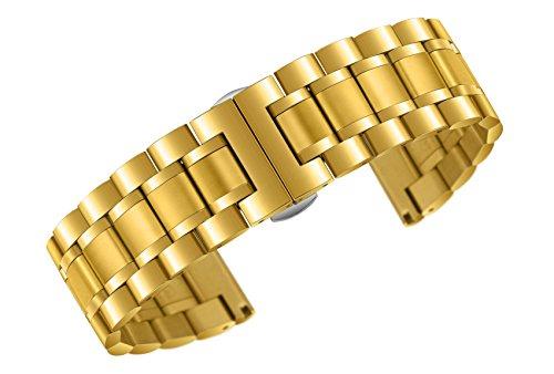 22mm Premium-Auster Stil Gold-Metall-Uhrenarmbänder der Männer mit den beiden gebogenen und geraden Enden schwere Ausführung Edelstahl 316l