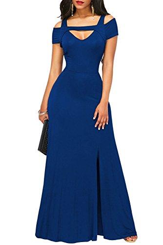 TOUVIE Damen Elegant Langes Abendkleid V-Ausschnitt Ballkleider Cocktailkleider Blau S