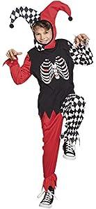 Boland BOL78123 Disfraz de esqueleto Arlecchino para niño L, 10/12 años