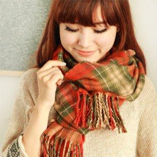 Femmes echarpes en tricot Plaid en automne et l'hiver long col rembourré à double usage châles chaleureux Orange Plaid