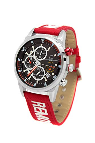 Reloj AVIADOR RBF ALA 12 AV-1060-1 con caja de acero quirúrgico, esfera negra y correa RBF roja en nylon