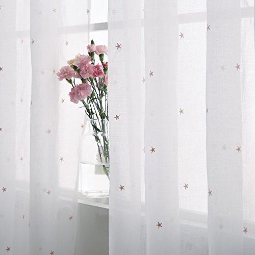 Kinderzimmer Weiße Gardinenstange (Deconovo Gardinen Transparent Ösenvorhang Transparent Vorhangschals mit Stickerei Weihnachtssterne 229x140 cm Rosa Stern)