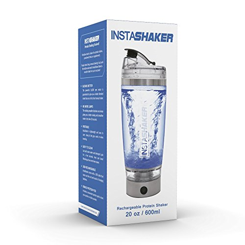 InstaShaker (2018 Model) Protein Shaker Bottle – Electric Protein Blender 20 oz | Vortex Mixer Cup | USB Rechargeable | Integrated Powder Storage Container |