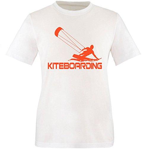 EZYshirt® Kiteboarding Herren Rundhals T-Shirt Weiß/Orange