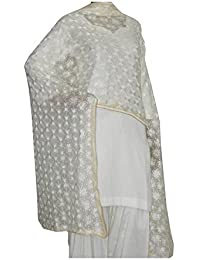 Phulkari Dupatta Hand Made Embroidery Chinon Chifon Fabric - Dupatta With Multi Colored Ethnic Designer Thread...