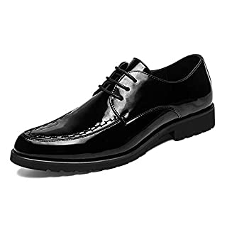 HILOTU Herren Oxford Schuhe Casual Britischen Stil Schnürschuh Lackleder Business Kleid Schuhe (Color : Schwarz, Größe : 43 EU)