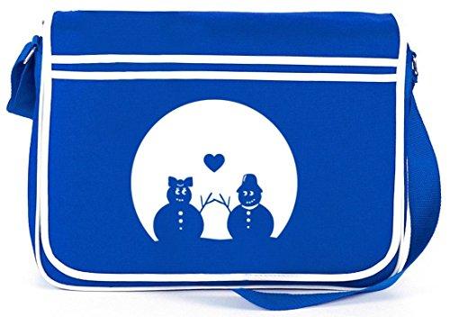 SNOWMAN IN LOVE, Weihnachten Winter Retro Messenger Bag Kuriertasche Umhängetasche Royal Blau