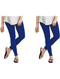 Dream Fashion Royal Blue Cotton Lycra Leggings For Women's (Pack Of 2)