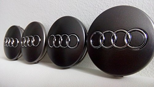 4x Audi Grey Felgendeckel 60mm Nabendeckel Nabenkappe wheel centre caps neu