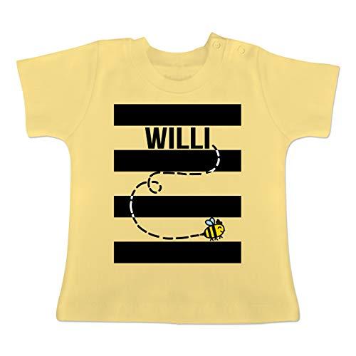 Karneval und Fasching Baby - Bienen Kostüm Willi - 1-3 Monate - Hellgelb - BZ02 - Baby T-Shirt Kurzarm