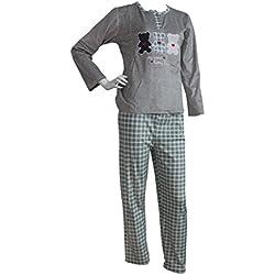 FERETI (XXXL) Pijama Mujer Gris Verde Terciopelo Osos Otoño Oso Panda Animales Invierno Flanelado Polar Conjunto