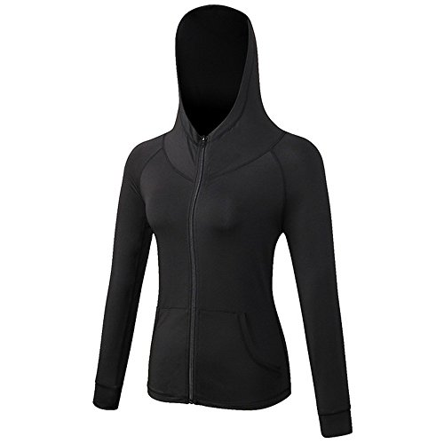 Selighting Damen Langarm Laufjacke Hoodie Sweatshirt Trainingsjacke für Yoga Fitness Laufen (Schwarz, M)