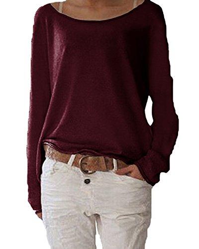 Damen Langarm T-shirt Rundhals Ausschnitt Lose Bluse Hemd Pullover Oversize Sweatshirt Oberteil Tops ,Farbe Weinrot , Gr. Medium / EU 40-42