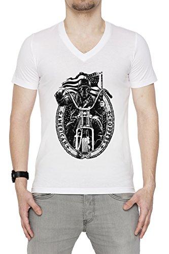 American Choppers Uomo V-Collo T-shirt Bianco Cotone Maniche Corte White Men's V-neck T-shirt