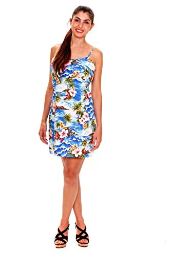 Pacific-Legend-Original-Hawaii-vestido-Mujer-S-XXL-verano-Print-palmera-en-la-playa-de-Hawaii-color-azul-azul-extra-large