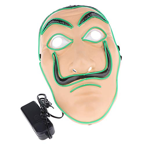 SM SunniMix LED Maske Leuchtende Maske Cosplay Kostüm Zubehör mit El Kabel, Farbwahl - Grün (Kabel Cosplay Kostüm)