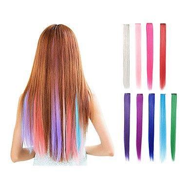 Clip dans une pièce Unique Extensions de cheveux synthétiques 9 couleurs 55,9 cm droite Rose Vert Violet bleu Blond Rouge Cheveux pièces