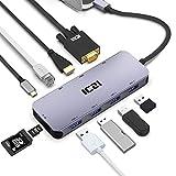 ICZI Hub USB C Adattatore 10-in-1 Tipo c Alluminio con Porta 4K HDMI VGA 4 Porte USB 3.0 Ethernet RJ45 Lettore Schede SD TF PD Tipo C per dell XPS Huawei PC Windows Computer e Altro