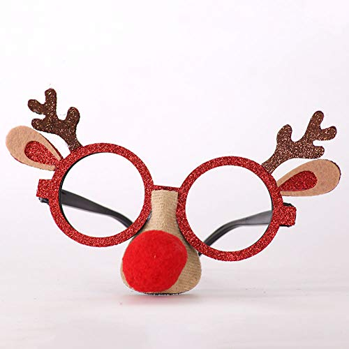 DishyKooker Christmas Children's Eyeglasses Frame Antlers Snowman Frame Santa Claus Decorations red