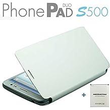 MEDIACOM CUSTODIA FLIP CASE M-S500BC PER TELEFONO CELLULARE PhonePad Duo S500 COLORE BIANCO + BIG BATTERY 2500 mAh