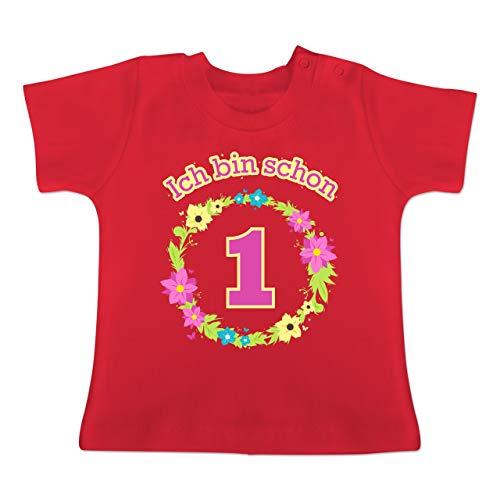 Geburtstag Baby - Ich Bin Schon 1 Blumenkranz - 12-18 Monate - Rot - BZ02 - Baby T-Shirt Kurzarm