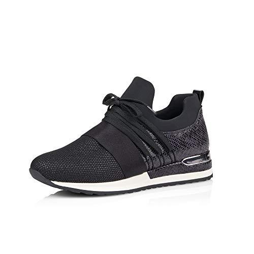 Remonte Damen Schnürhalbschuhe R2502, Frauen sportlicher Schnürer, Freizeit Halbschuh Sneaker,schwarz,42 EU / 8 UK