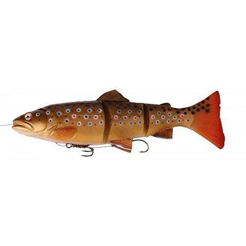 Savage Gear 3D Line Thru Trout Gummifisch Forelle, Kunstköder für Hecht, Zander, Waller, Angelköder zum Spinnfischen und Schleppangeln, Hechtköder, Zanderköder, Wallerköder, Welsköder, Forellenköder, Gummiforelle, Gummiköder, Farbe:Dark Brown Rainbow;Länge / Gewicht /Schwimmverhalten:15cm / 40g/ moderat sinkend