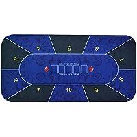 Texas Hold 'em Poker Rectángulo alfombrilla 120cm X 60cm Diseño de flores de goma Gaming Pad, Azul