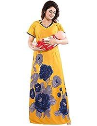 f76bf160abf58 TUCUTE Women's Beautiful Print with Invisible Zip Feeding/Maternity/Nursing  Nighty/Nightwear.