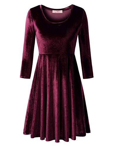 Slivexy Women's Velvet Scoop Neck 3/4 Sleeve A-Line Flared Dress D04 Purple Large