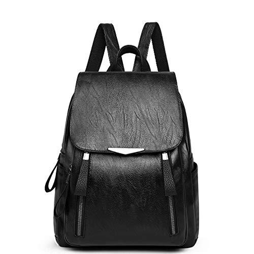 HEIMIAOMIAO Damentasche Berühmte Marke Designer Frauen Hochwertigem Leder Rucksack Weiblichen Beiläufigen Schultern Tasche Teenager Schultasche Mode Damentaschen, Schwarz, L26cmH33cmW12cm