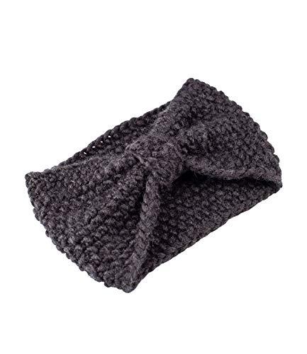YSTRDY Damen Stirnband, Haarband, Kopfband, Grobstrick, Knitwear, Gestrickt, Knoten, Schleife, schwarz (490-606)
