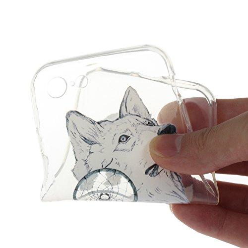 """Für iPhone 7 4.7"""" [Scratch-Resistant] Weichem Handytasche Weich Flexibel Silikon Hülle,Für iPhone 7 4.7"""" TPU Hülle Back Cover Schutzhülle Silikon Crystal Kirstall Durchschauen Clear Case,Funyye Ultra  Wolf Campanula"""