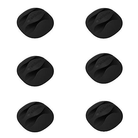 [6er Pack + 3 Ersatzkleber] Tekbotic Mehrzweck-Kabel-Clips für Draht- und Kabelmanagement - Kabelhalter-Clips mit zweifacher Streckenführung für Schreibtisch, Büro, Zuhause, Auto (Schwarz)