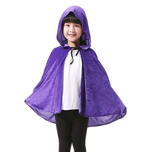 LL Halloween-Umhang Kinder Halloween Umhang Tunika Kapuzen Robe Tod Lange Cape Tuch Hexe Prince Prince Umhang (Farbe : Purple)