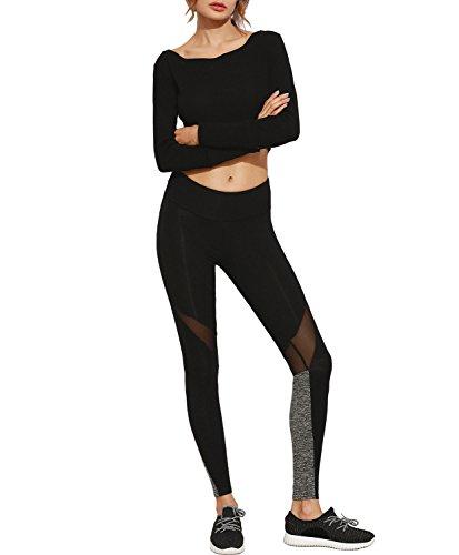 De las mujeres Malla Empalme Pantalones de yoga Cintura alta Activo De